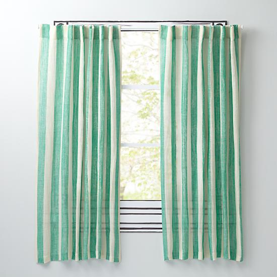 Line Up Striped Curtain Panels Green The Land Of Nod