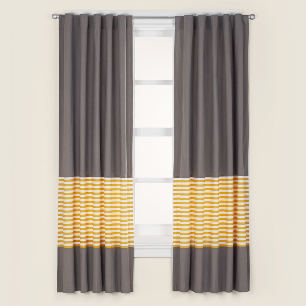 63&quot; New School Curtain Panel (Yellow Stripe)