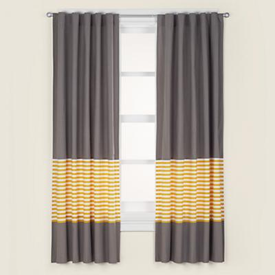 "96"" New School Curtain Panel (Yellow Stripe)"
