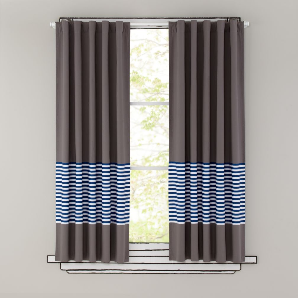 63&quot; New School Curtain Panel (Blue Stripe)