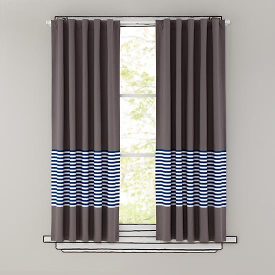 Kids Curtains Blue Stripe Grey Window Curtains The Land Of Nod