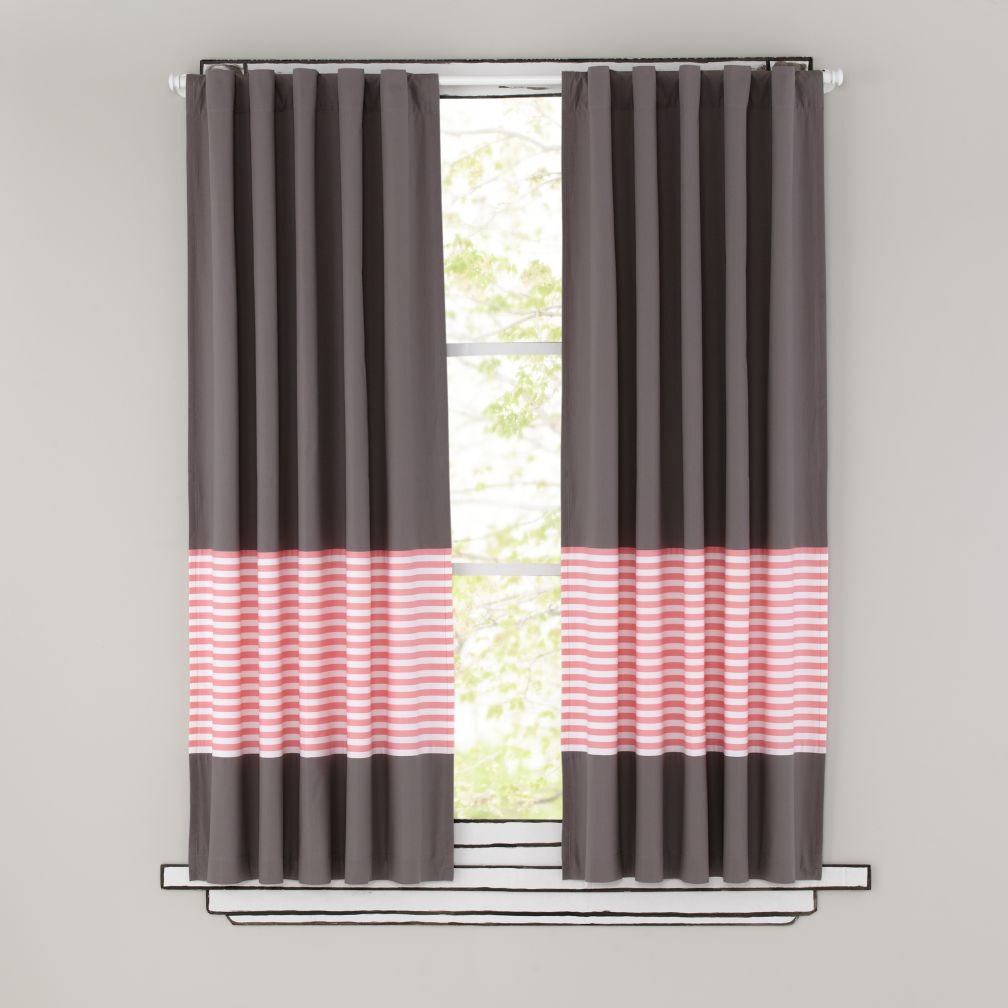 63&quot; New School Curtain Panel (Pink Stripe)