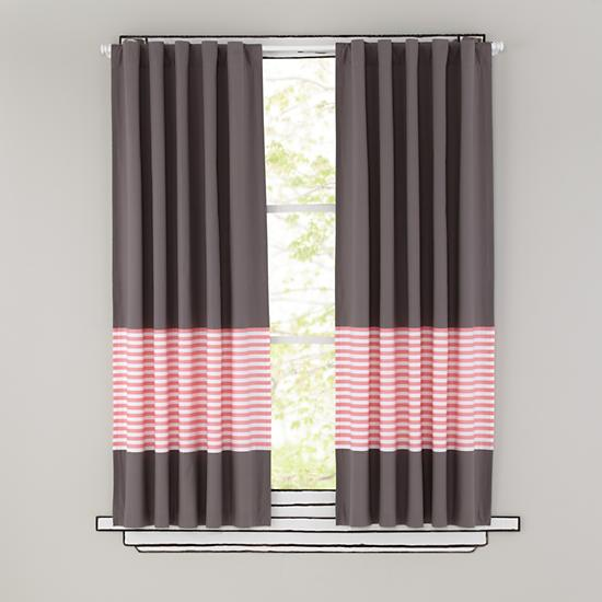 Kids Curtains: Pink Stripe Grey Window Curtains  The Land of Nod