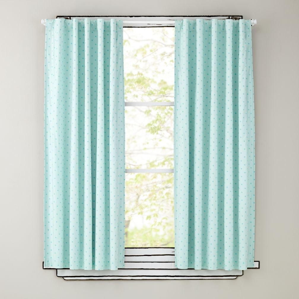 "84"" Aqua Polka Dot Curtain Panels"
