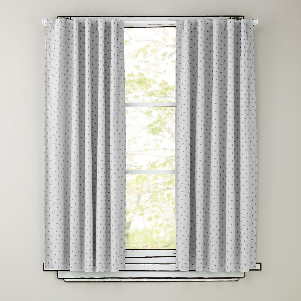 "84"" Grey Polka Dot Curtain Panels"