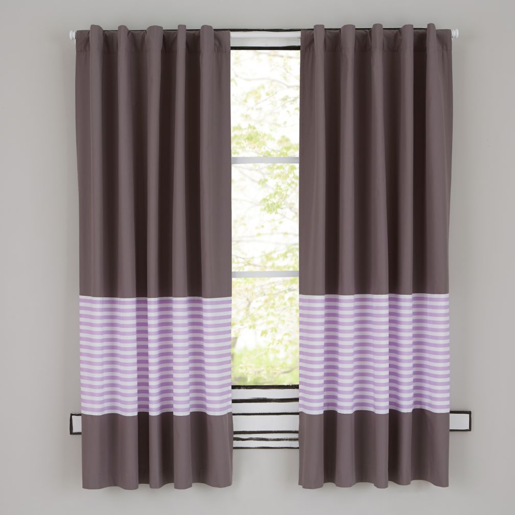 New School Curtain Panels (Purple Stripe)