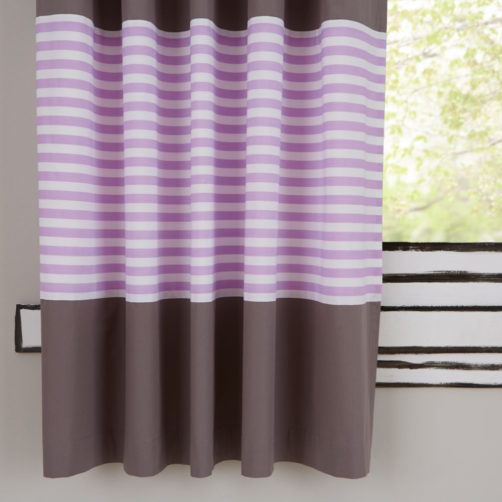 "63"" New School Curtain Panels (Purple Stripe)"