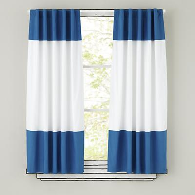 Color Edge Curtain Panels (Blue)