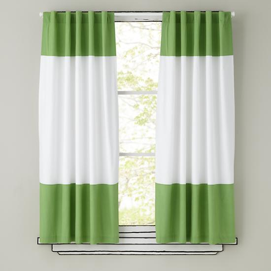 kids curtains green and white curtain panels the land of nod