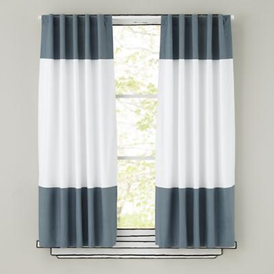 Color Edge Curtain Panels (Grey)