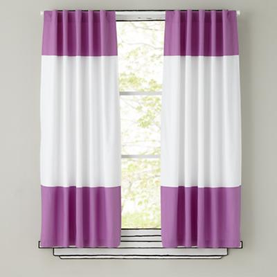 Kids Curtains: Purple and White Curtain Panels | The Land of Nod