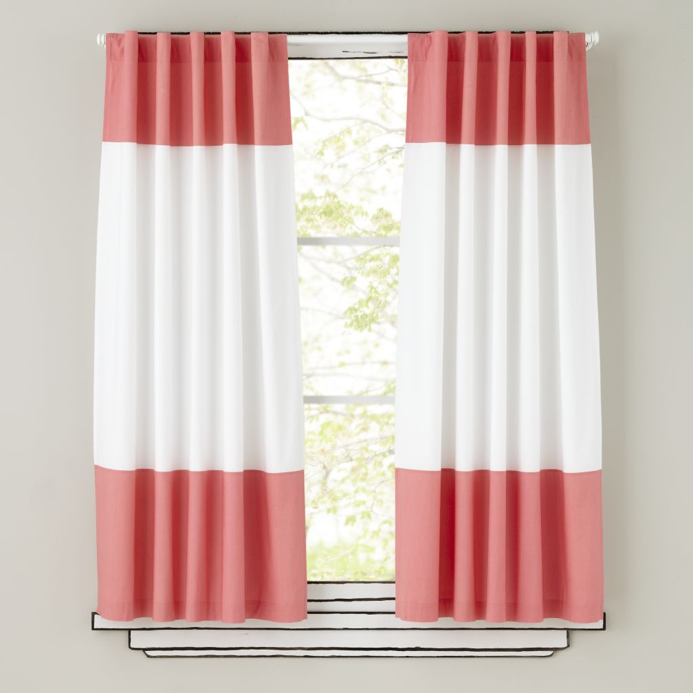 Color Edge Curtain Panels (Pink)