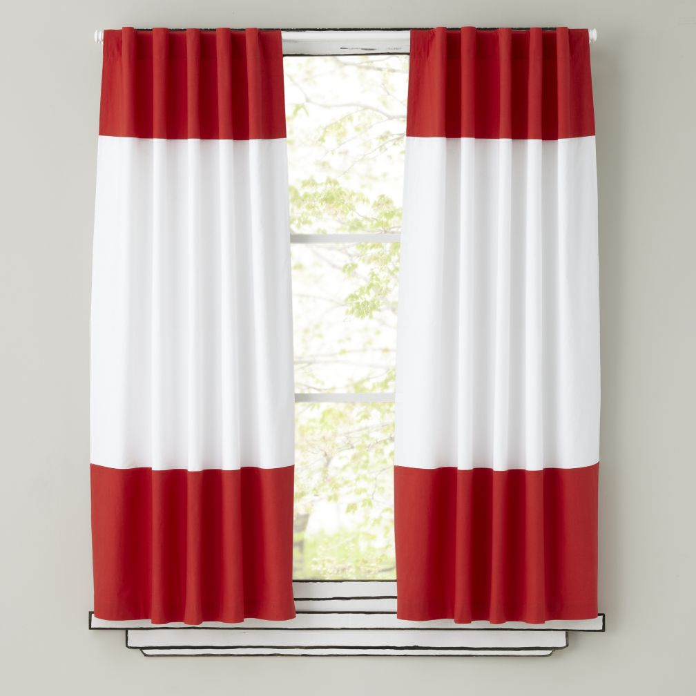 Color Edge Curtain Panels (Red)