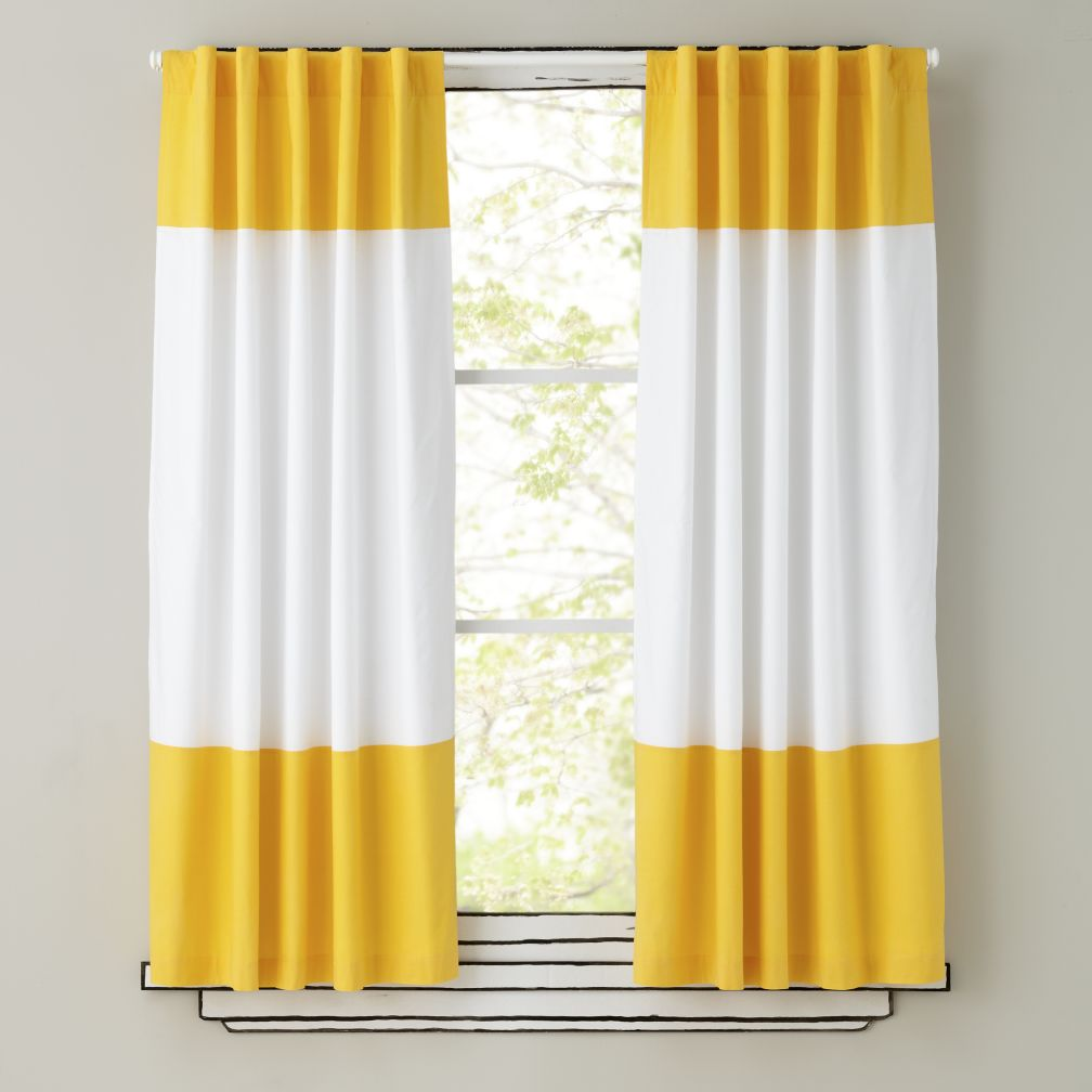 84&quot; Color Edge Curtain Panel (Yellow)