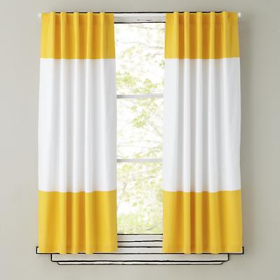 Color Edge Curtain Panels (Yellow)