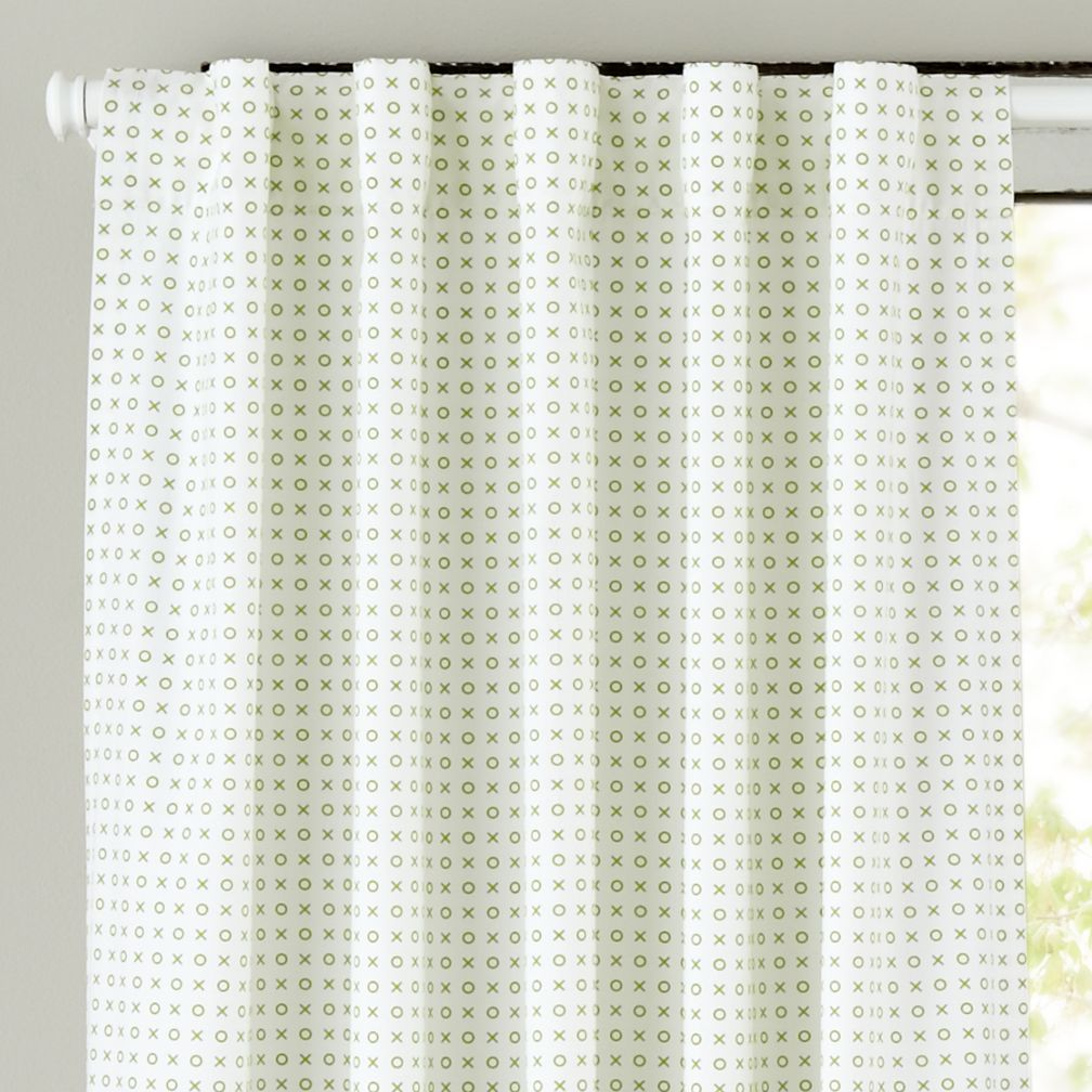 "84"" Fine Prints Curtain Panel (Green XO)"