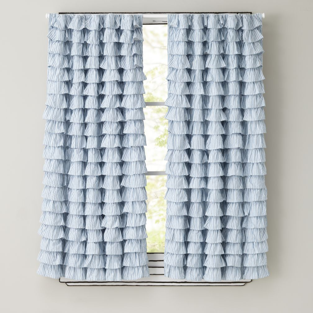 63&quot; Petit Chateau Blue Ruffle Panels