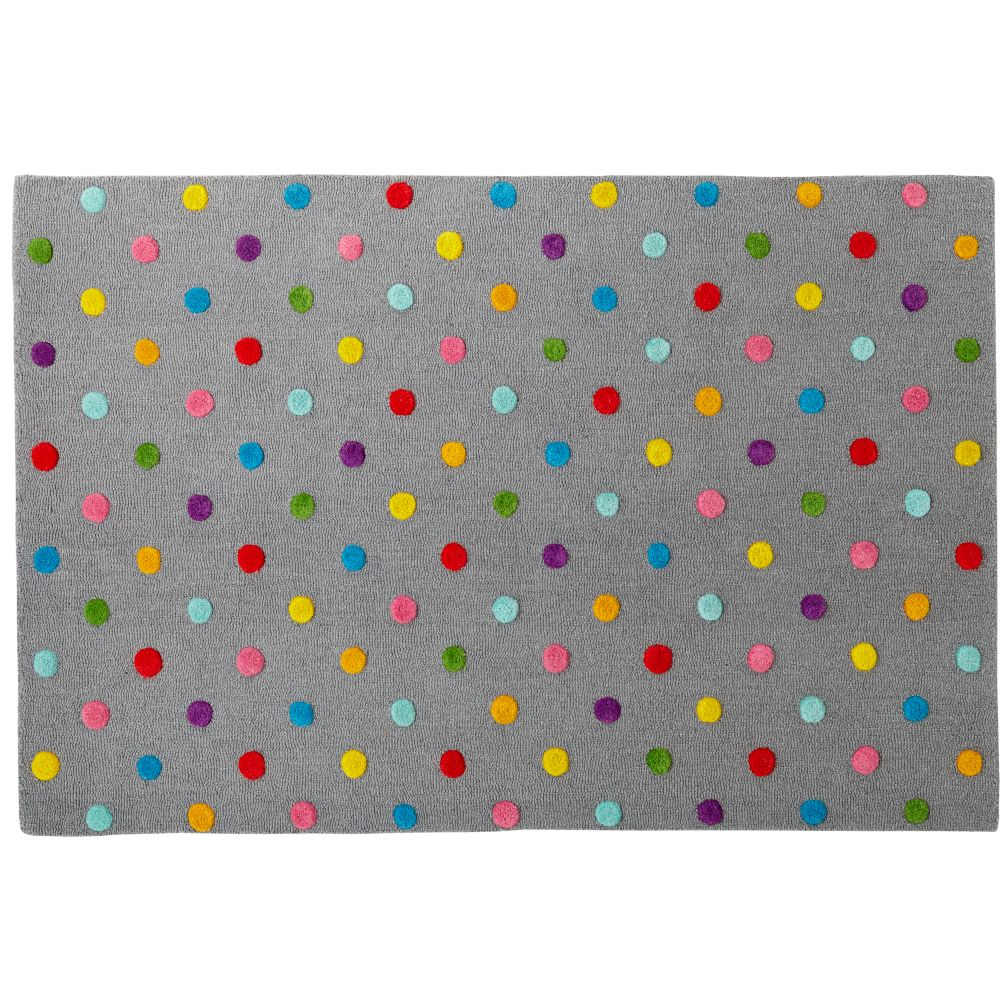 5 x 8' Grey Candy Dot Rug