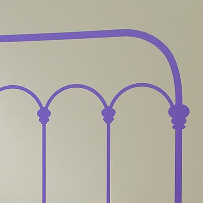 Wrought Iron Queen Headboard Decal (Lavender)