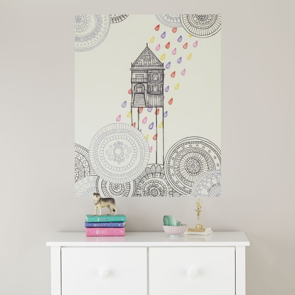 Rainbow Raindrops Poster Decal