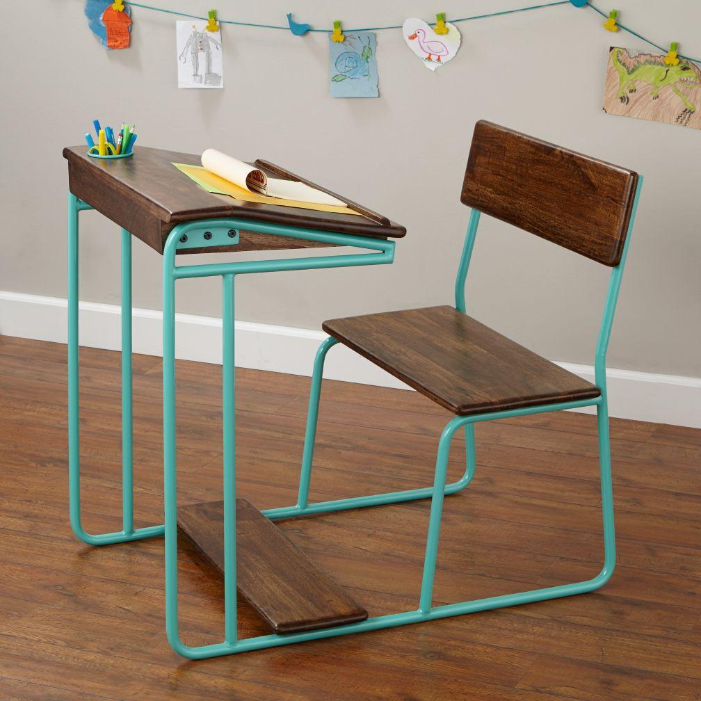 Modern Schoolhouse Desk (Aqua)