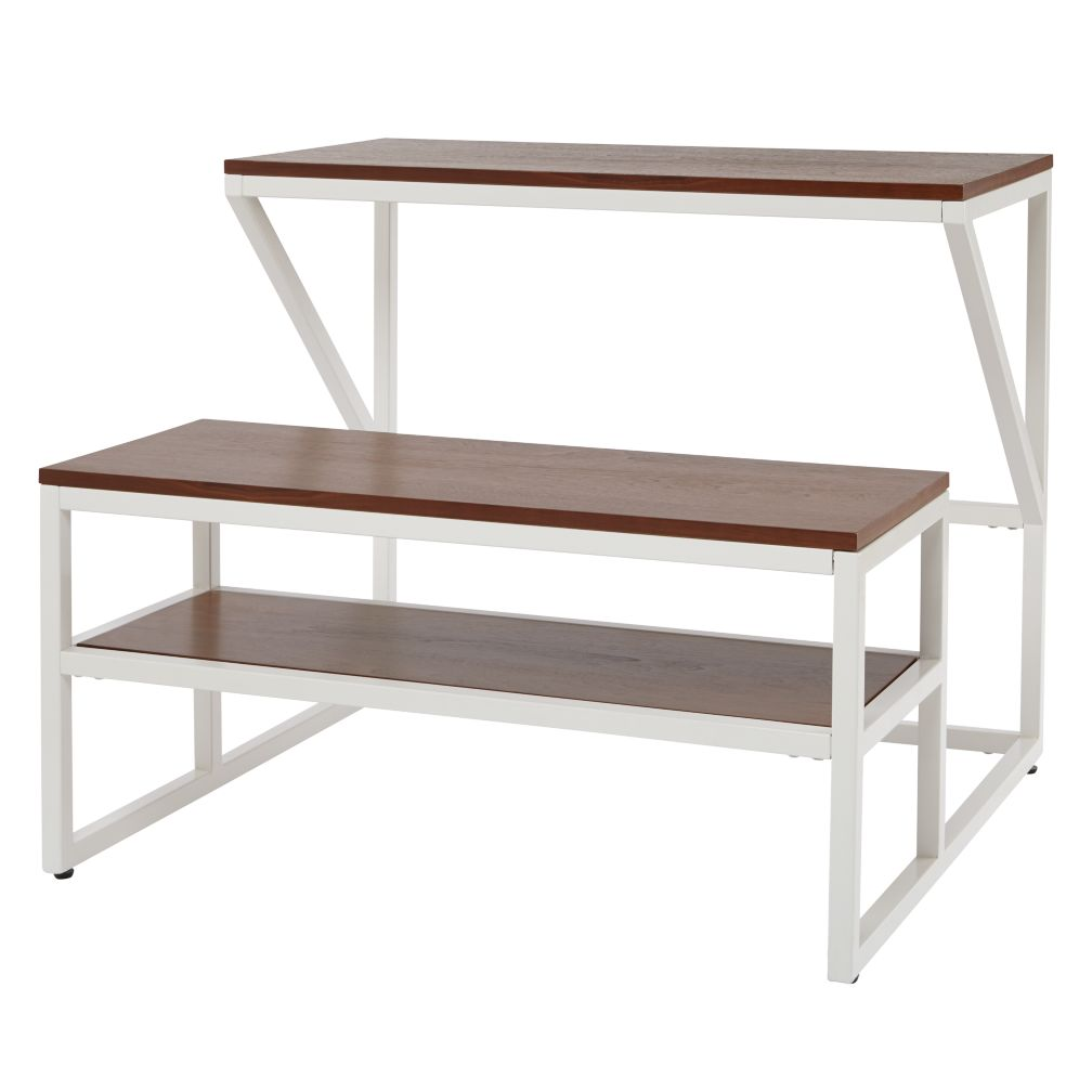 New School Desk With Bench (White/Walnut)