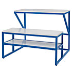 Cobalt Blue-White School Table and Bench