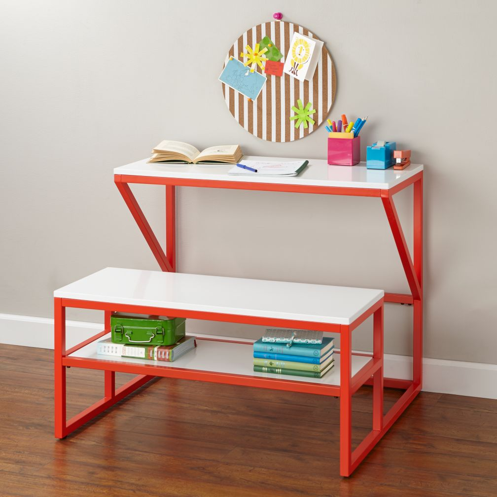New School Desk With Bench (Red/White)