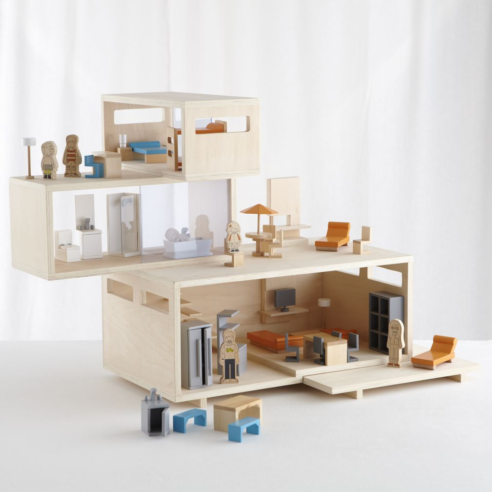 Modern Dollhouse Set (House, Family and Furniture)