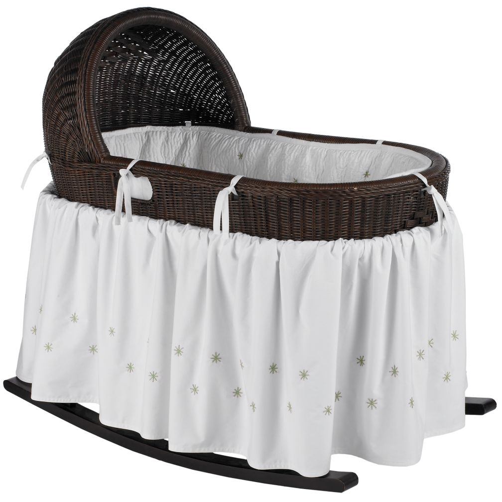 Espresso Bassinet with Green Bedding Set