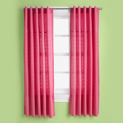 Eyelet Curtain Panel (Hot Pink)