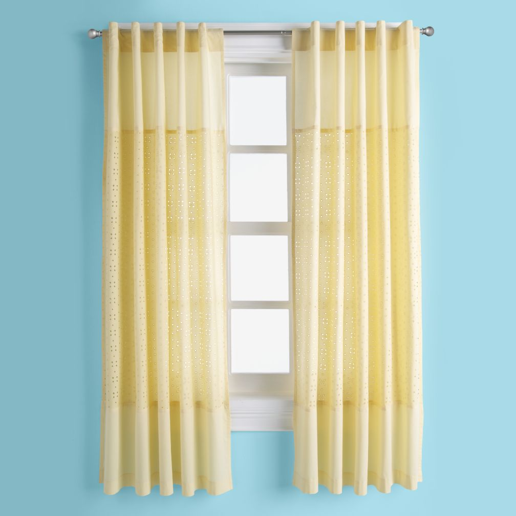 I Only Have Eyes for Eyelet Curtain Panels (Yellow)