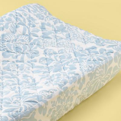 Blue Wallpaper Floral Changing Pad Cover