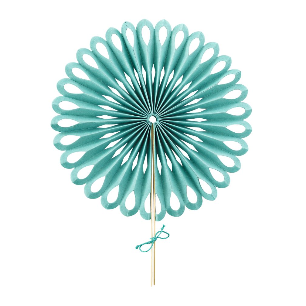 Small Die Cut Paper Fan (Aqua)