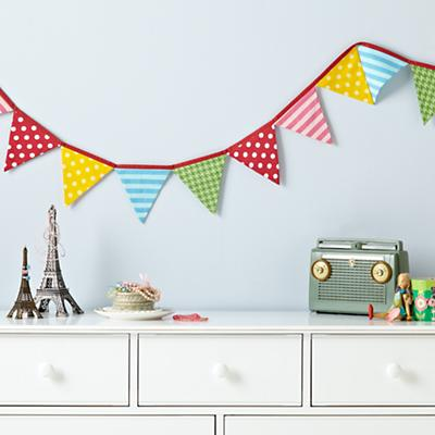 Patterned Pennants Fabric Garland