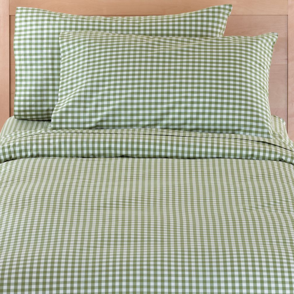 Green Gingham? Check. Bedding? Check. Duvet Cover