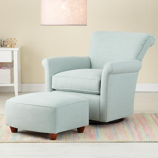 Nursery Gliders Blue Swivel Glider Chair And Ottoman The Land Of Nod