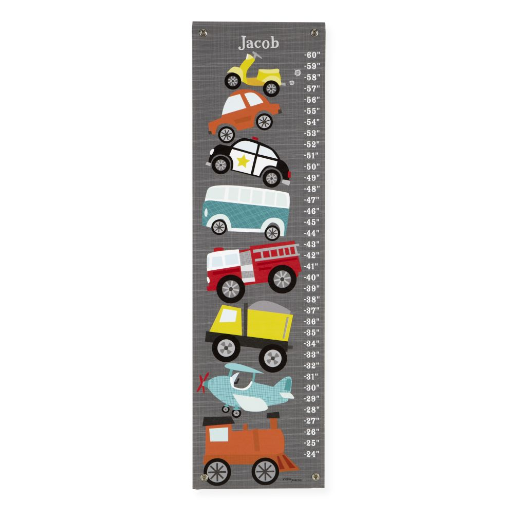 Personalized Grey Transportation Growth Chart
