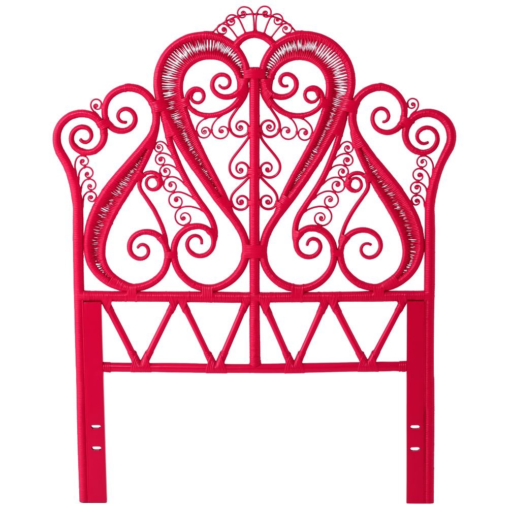 Twin Hot Pink Aria Rattan Headboard