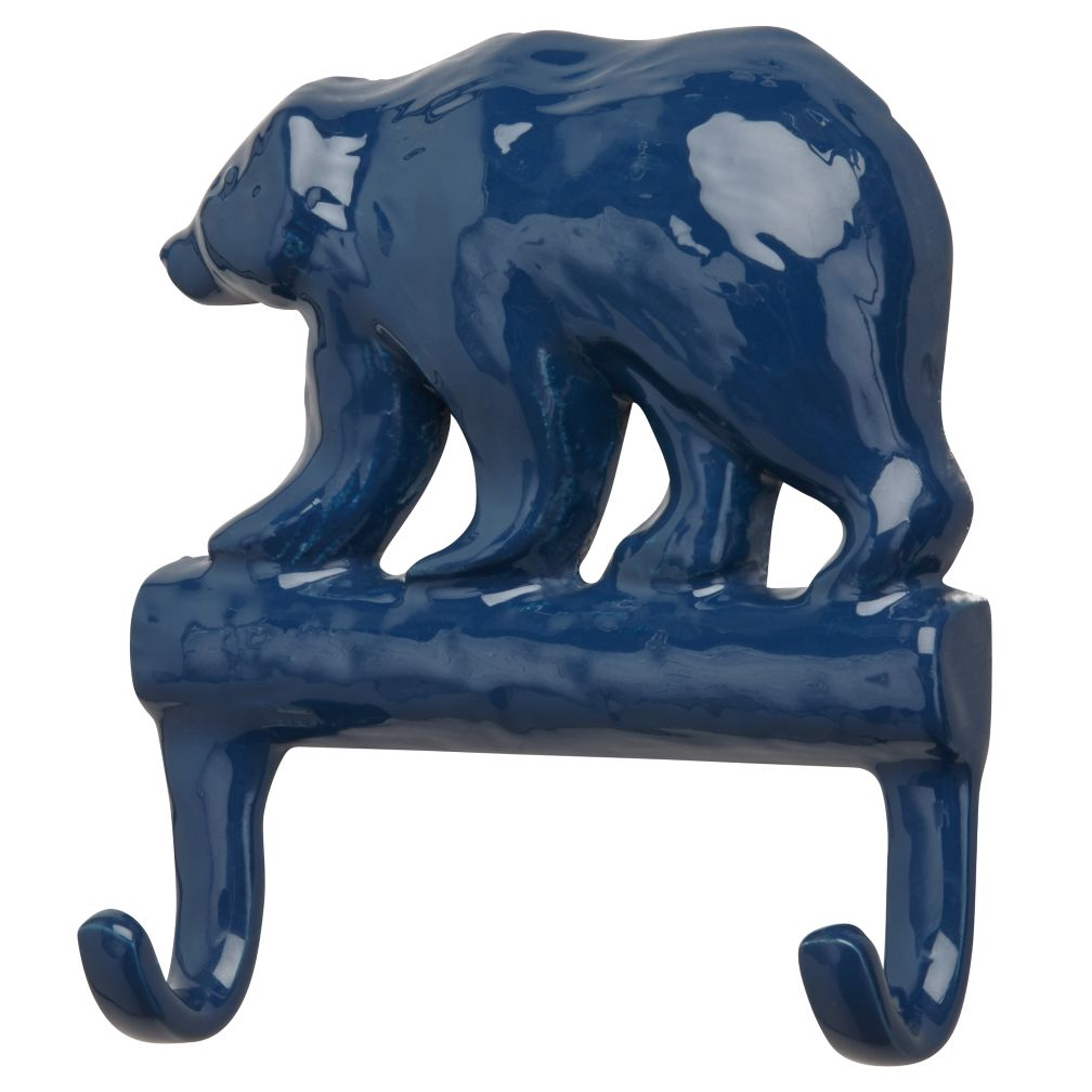 Blue Metal Bear Wall Hook