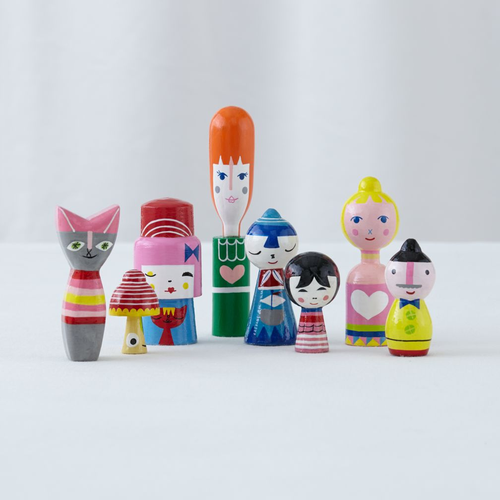 Happy Together Wooden Dolls (Set of 8)