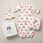 0-3 mos. Orange Giraffes Snuggle Sack, Hat and Blanket Set