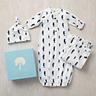 0-3 mos. Blue Seahorse Snuggle Sack, Hat and Blanket Set