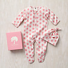 3-6 mos. Pink Wallpaper Organic Footie/Hat Set