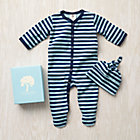 0-3 mos. Blue Stripe Organic Footie/Hat Set
