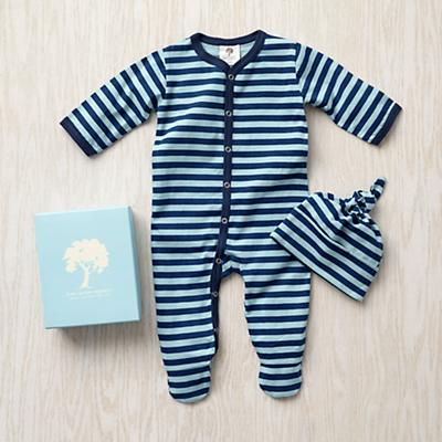 3-6 mos. Kate Quinn Gift Set (Blue Stripe)