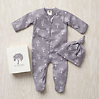 3-6 mos. Grey Trees Organic Footie/Hat Set