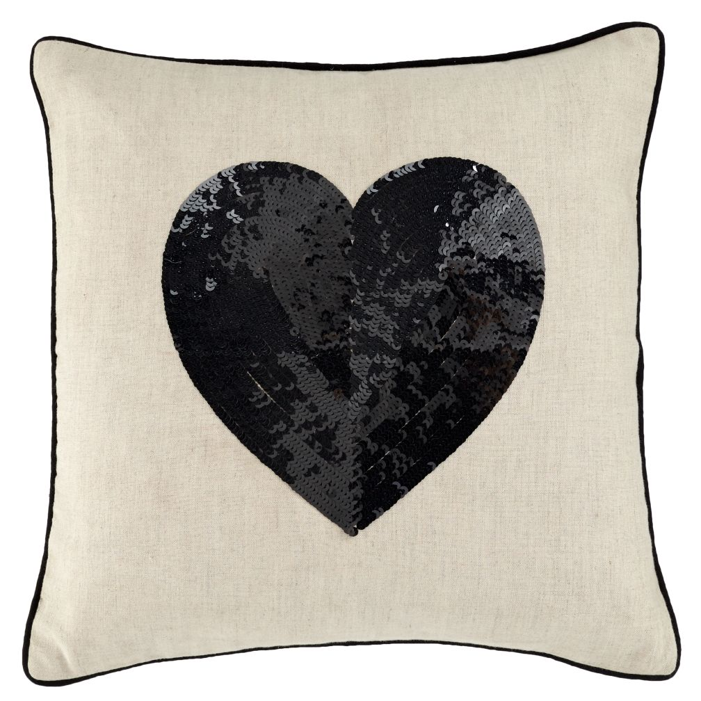 Set Black Sequin Heart Pillow