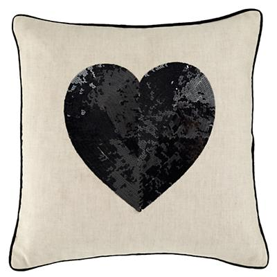 Black Sequin Heart Throw Pillow Set