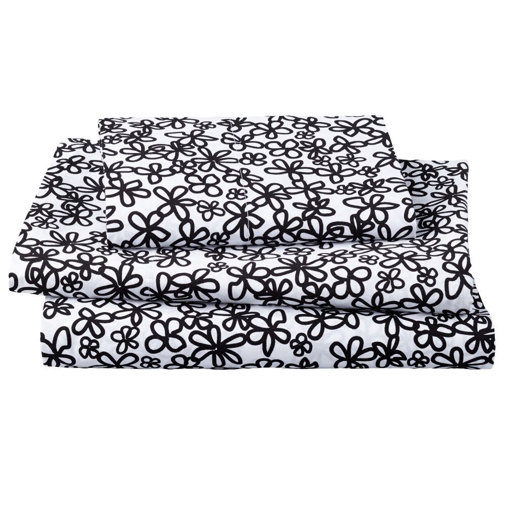 Twin Black White Loves Me Sheet Set<br /><br />Includes fitted sheet, flat sheet and one pillowcase